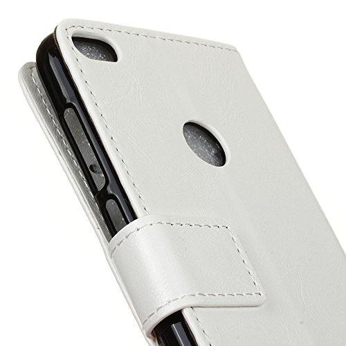 Lusee® PU Caso de cuero sintético Funda para Alcatel IDOL 5 5.2 Pulgada Cubierta con funda de silicona botón caballo Loco patrón azul caballo Loco patrón blanco