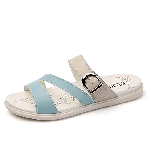 Sandalen L@YC Frauen Summer Slope Mit KüHlen Slippers 2017 Flach Boden Wear Sandalen Leder Schuhe , blue , 37
