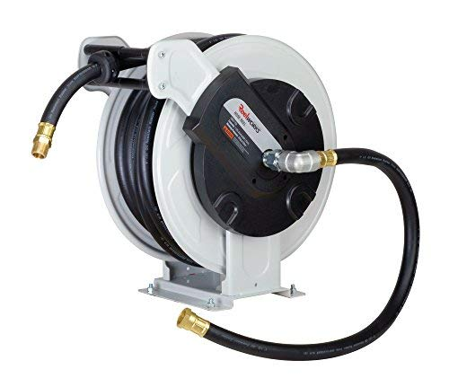 REELWORKS Heavy Duty Spring Driven Hose Reel (1'' x 50 Ft. NBR Fuel Reel)