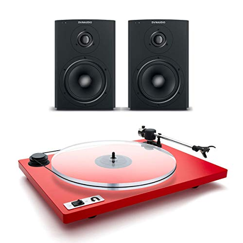 Dynaudio Xeo 2 Wireless Bookshelf Speakers and U-Turn Orbit Plus Turntable with Built-in Preamplifier (Red) - Dynaudio Studio Speakers