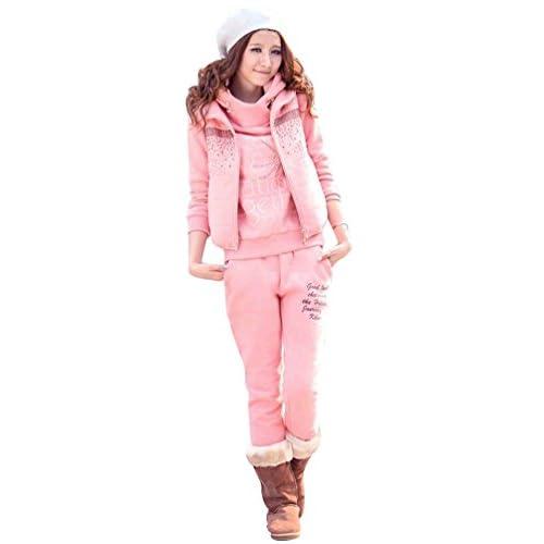 NiSeng Femmes Survêtement Suit Chaud Manches Longues Pull À Capuche + Gilet  + Pantalon 3Pcs Veste 3c80086afb5