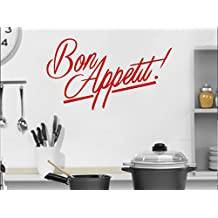 Bon Appetite French good Appetite enjoy your meal kitchen wall restaurant display window decal sticker approx 10x6 inches Red