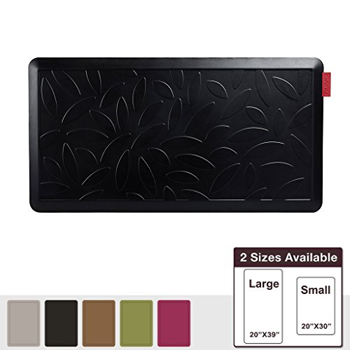NUVA Salon Antislip Anti-fatigue Mats Antimicrobial >99.9%, Non-toxic Odor, Water Resistant, 39x20x0.75 inch., Various sizes & colors, Commercial Grade:10 years Warranty(Black, Leaf Pattern) (Antimicrobial Mat)