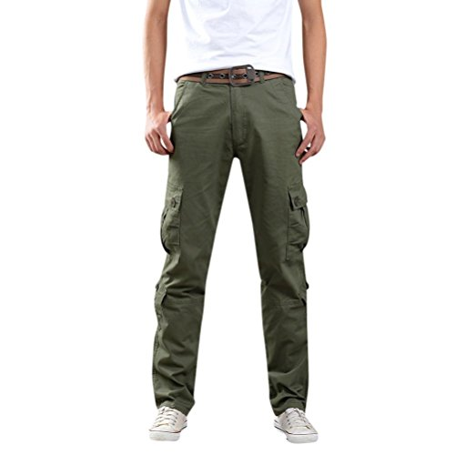 Men's Casual Cargo Pants, Multi-Pocket Sports Fitness Camo Work Pants (Army Green, 33=Waist:32.9
