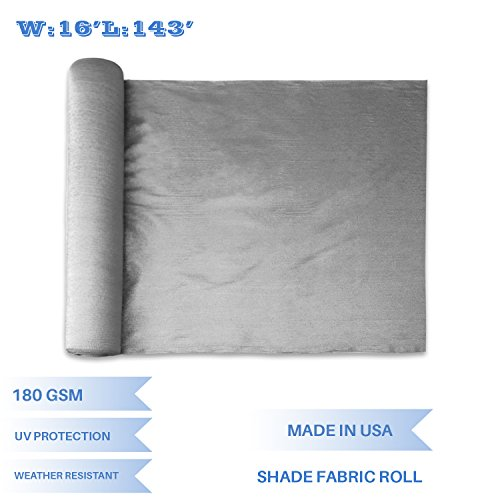 E&K Sunrise 16' x 143' Light Grey Sun Shade Fabric Sunblock Shade Cloth Roll, 95% UV Resistant Mesh Netting Cover for Outdoor,Backyard,Garden,Greenhouse,Barn,Plant (Customized Sizes Available) - 143' Light