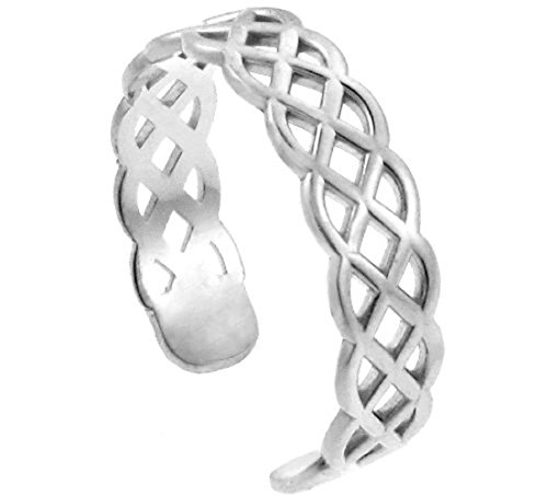 14k White Gold Trinity Knot Adjustable Celtic Toe Ring