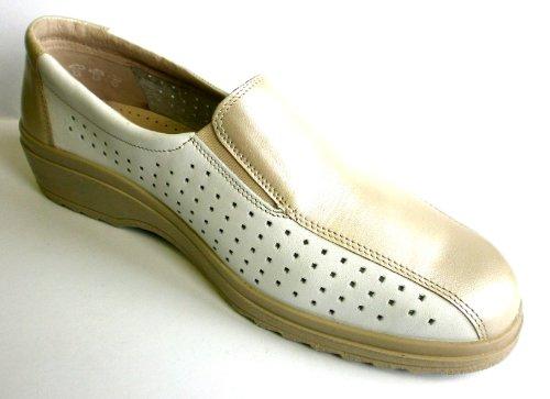 Simona Damen Halbschuh Slipper 060528-19041 5, weiß / Beige, echt LEDER