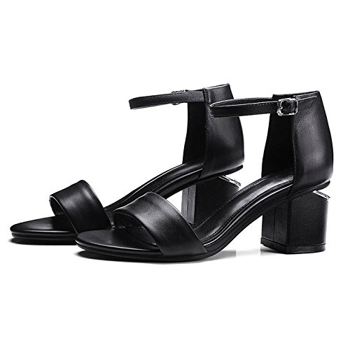 Womens Leather Open Toe Low Mid Block Heel Sandals Mid-hollow Ankle Strap Sandals For Dress Evening Party Black o6e6I7D