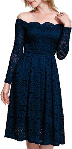 Meyison Damen Vintage 1950er Off Schulter Spitzenkleid Knielang Festlich Cocktailkleid Abendkleid Rockabilly Kleid Gr.S XXL Blau