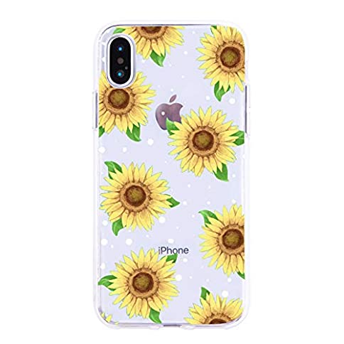 - 41Bn2IUWdQL - Sunflower Floral Flower Pattern Clear Design Case for iPhone 7/iPhone 8, MAYCARI Soft TPU Bumper Protective Case Cover for Girls Women
