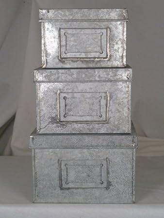 SET OF 3 SMALL ANTIQUE GREY DECORATIVE METAL STORAGE BOXES