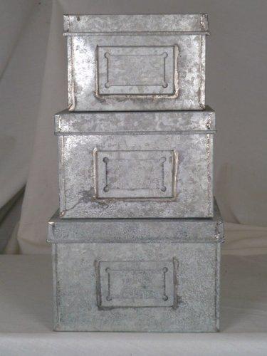 SET OF 3 SMALL ANTIQUE GREY DECORATIVE METAL STORAGE BOXES & SET OF 3 SMALL ANTIQUE GREY DECORATIVE METAL STORAGE BOXES: Amazon ...