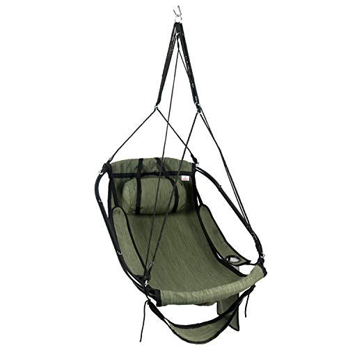 Bathonly Hanging Hammock Air Chair,New Deluxe Sky Swing Rope Chair with Plump Pillow & Drink Holder Armrest, Foot Rest,Metal Bars- Indoor/Outdoor 330 Lbs