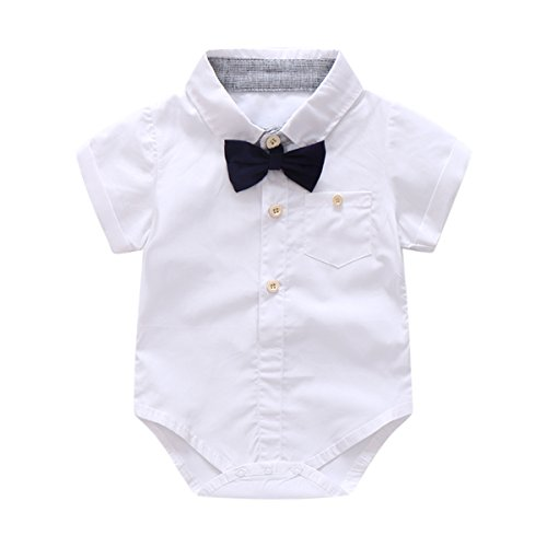 Baby Boys Gentleman Outfits Suits, Infant Short Sleeve Shirt+Bib Pants+Bow Tie Overalls Clothes Set by Boarnseorl (Image #3)