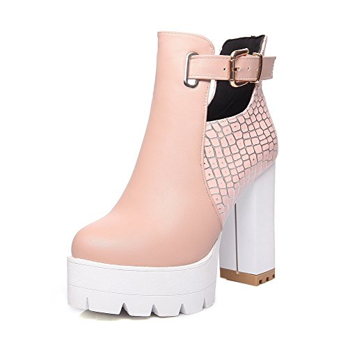 AllhqFashion Womens Buckle Round Closed Toe High Heels PU Ankle High Boots, Pink, 40