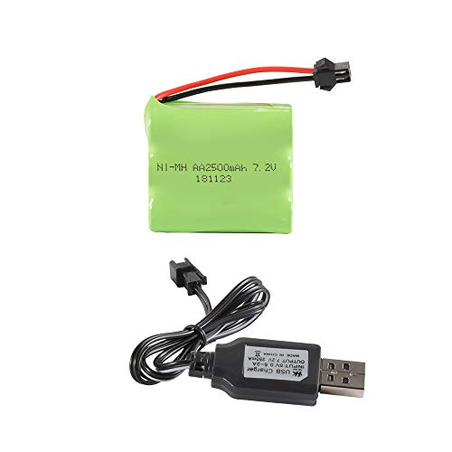 XCSOURCE 7.2V 2500mAh NI-MH Rechargeable Flat Battery Spare Pack with 2P SM Plug +USB Charger Cable ()