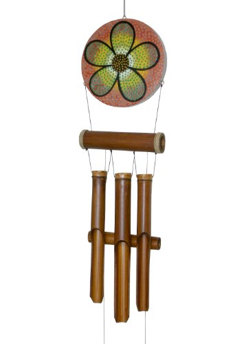 Cohasset Gifts | | | # 288H | Cohasset Abstract Flower Harmony Dots Bamboo Wind Chime |, Hand Painted Multi-Hued Design |