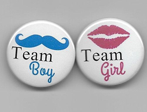 Amazon Team Boy Girl Gender Reveal Blue Mustache Pink Kissing