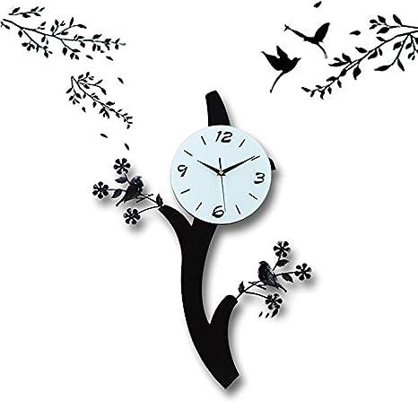 Negro Pájaro De Madera Reloj De Pared Reloj Digital Para Silenciar Salón Dormitorio: Amazon.es: Hogar