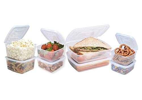 [8-Pack] Plastic Storage Set | 2019 MyEverLid by Homeart | Food Storage Containers have ATTACHED LIDS and BPA Free