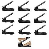 XIMIXILYQ Shoe Slots Adjustable Plastic Racks Footwear Organizer 10 Piece Set (Black)