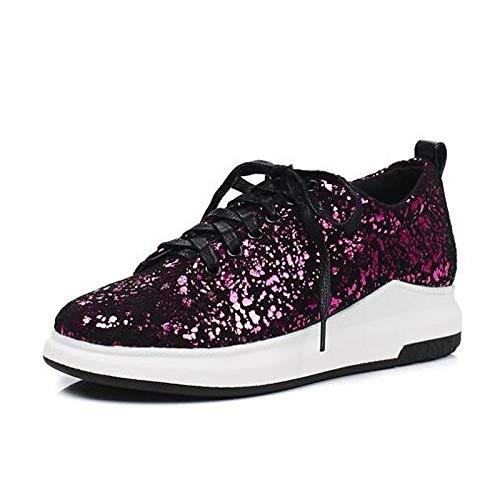 ZHZNVX Zapatos de Mujer Sintéticos Primavera/Verano Confort Zapatillas Enredaderas Cerradas Plata/Fucsia / Azul Fuchsia