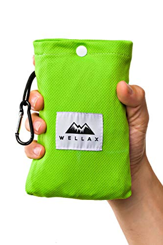 WELLAX Sandfree Beach Blanket - Waterproof Compact Pocket Blanket - Best Sand Proof Picnic Mat for Travel, Camping, Hiking and Music Festivals - Durable Tarp with Corner Pockets