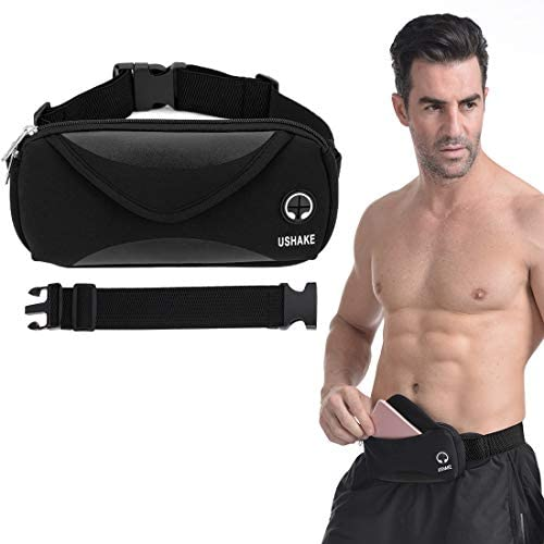 Running Belt with Extender Belt, Bounce Free Pouch Bag, Fanny Pack Workout Belt Sports Waist Pack Belt Pouch for Apple iPhone XR XS 8 X 7 Samsung Note Galaxy in Running Walking Cycling Gym-05BK