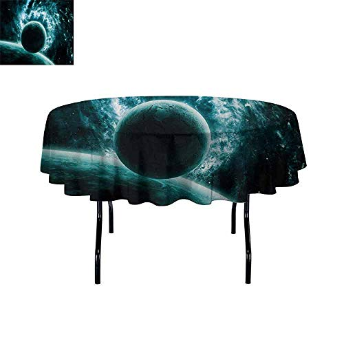 Curioly Space Iron-Free Anti-fouling Holiday Round Tablecloth Solar System Landscape with a Planet in Vast Motion UFO Asteroid Mystic Orbit View Print Table Decoration D59 Inch Teal ()