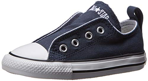 Converse Boys Infants' Chuck Taylor All Star Low Top Slip On Sneaker, Athletic Navy, 2 M US (All Star Converse For Baby Boy)