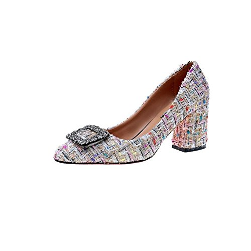 HRCxue Pointe Light-colored Coutures Unique Chaussures rétro épais avec talons hauts, épais avec chaussures avec. 39