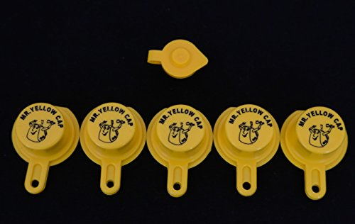 Yellow Gas Can Cap That Fits Your Vintage Blitz Spout - 5 Single Caps & 1 FREE - Blitz Cans Fuel