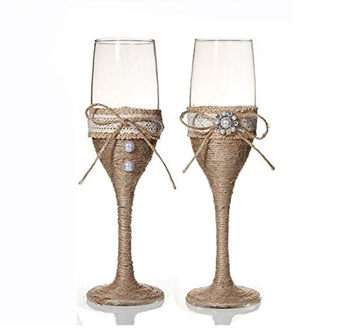 7 Oz Lace Pearl Hemp Rope Decoration Wine Glasses Handmade Bride and Groom Champagne Flutes for Toasting,Wedding Gifts,Wedding Favors,Couples Gifts,Wedding - Toasting Heart Pearl Flutes