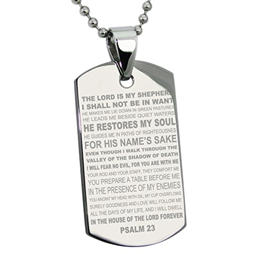(Tioneer Stainless Steel Psalm 23 Bible Verse Dog Tag)