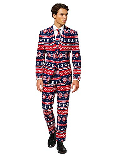 Cheap Male Costume Ideas (OppoSuits Christmas Suits for Men in Different Prints - Nordic Noel - Ugly Xmas Sweater Costumes Include Jacket Pants & Tie - US)