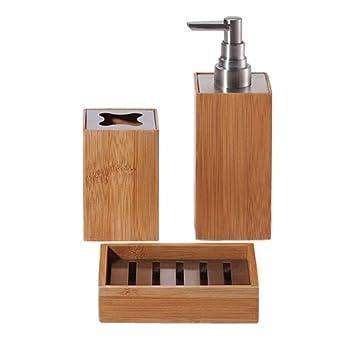 Accessoires bains bambou kYOTO porte gobelet distributeur brosses dents dp BNFYFI