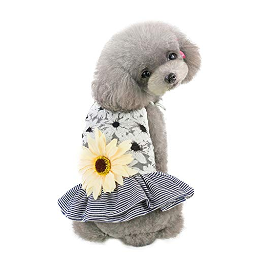 TTbuy Cute Striped Lace Dress Pet Dog Spring and Summer Sun Flower Sling Stripe Skirt Dog Costumes Pet Dog Clothes Puppy Small Dog Cat Dress Apparel Fly Sleeve Dress Stripe Vest (XL, Gray)