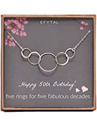 50th Birthday Gifts for Women, Sterling Silver Five Circle Necklace for Her 5 Decade Jewelry 50 Years Old