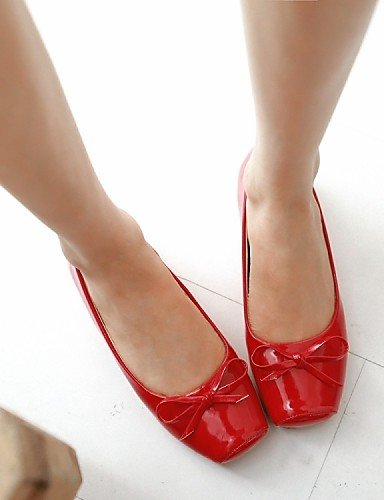 PDX/ Damenschuhe - Ballerinas - Büro / Lässig / Party & Festivität / Kleid - Kunstleder - Flacher Absatz - Komfort / Quadratische Zehe - , red-us5 / eu35 / uk3 / cn34 , red-us5 / eu35 / uk3 / cn34