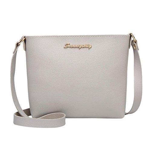 Kingfansion Women's Fashion Leather Casual Pure Color Messenger Bag Messenger Bag Mobile Coin Bag (Gray)