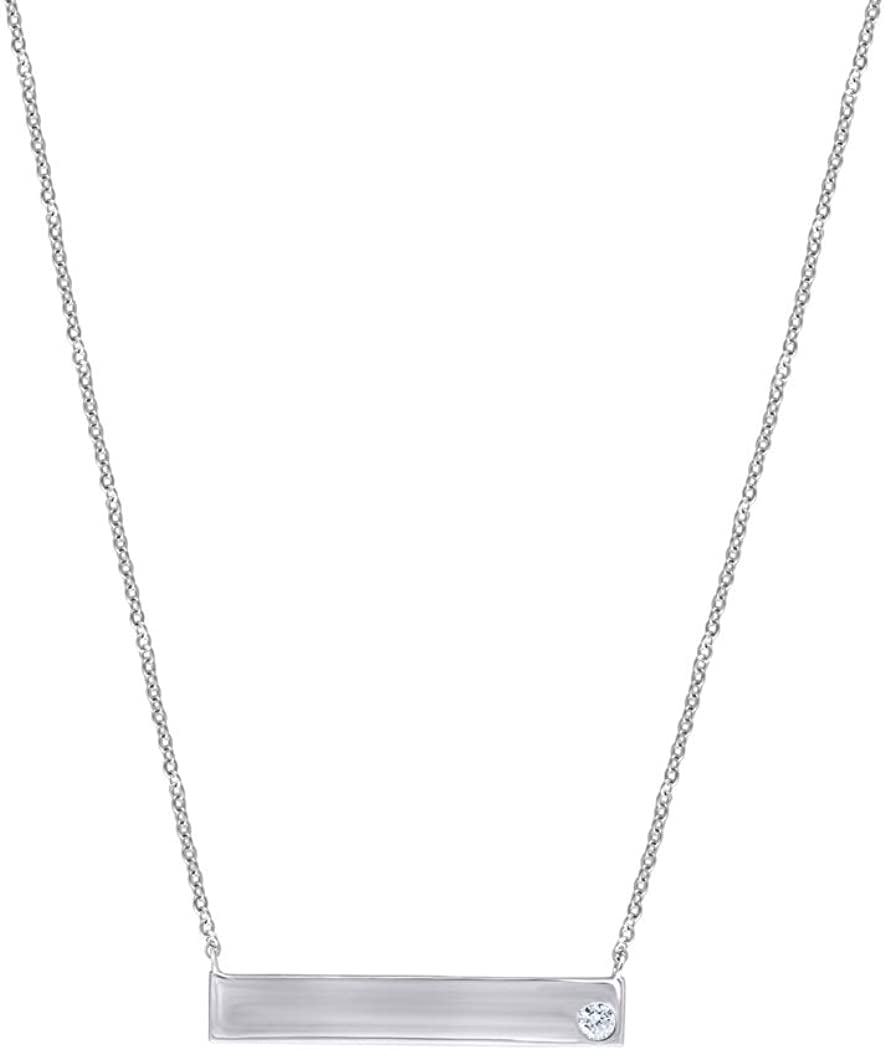925 Sterling Silver Womens Cubic Zirconia Bar Necklace Measures 7.4x33.3mm Wide
