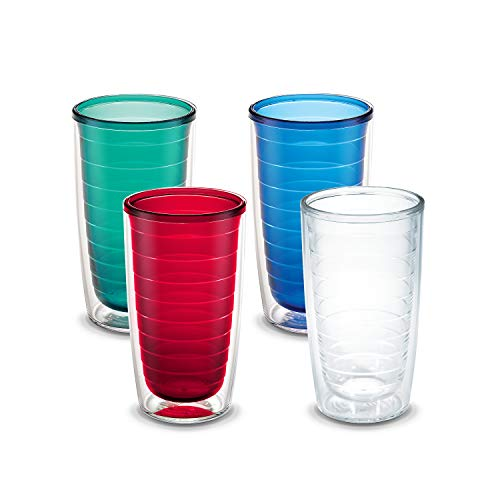 Tervis 1037267 Clear & Colorful Insulated Tumbler 4 Pack - Boxed (Assorted 4 Colors, 16 oz Tritan)