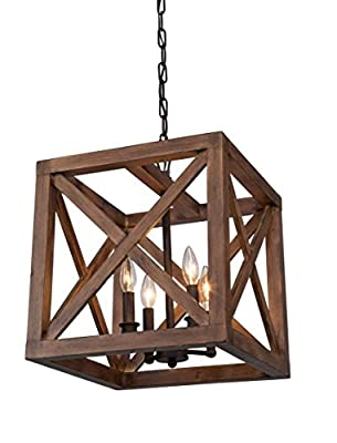 "Wood Cube Authentic Wooden Cage Pendant Lamp 4 Light Vintage Edison Walnut Collingwood Chandelier 18""x15'x15'"