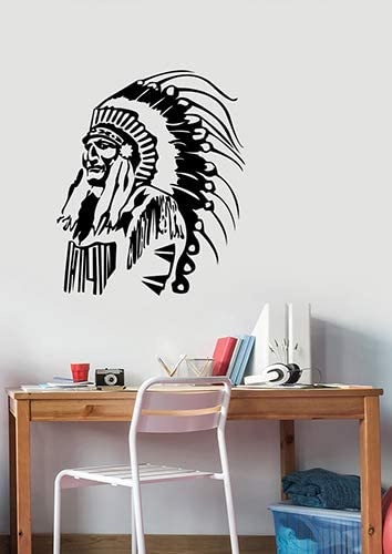 Amazon Com Native American Chief Vinyl Wall Decal Indian Apache Sticker Art Decorations For Home Living Room Bedroom Office Decor Ideas Na3 Arts Crafts Sewing