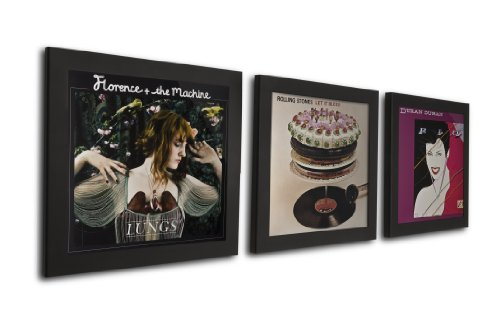 Album Display Collectors - Play & Display Vinyl Record Display Frame, Displays Albums Covers, 12.5x12.5, Black, Set of 3