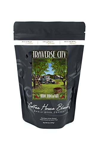 Traverse City, Michigan - Cherry Orchard Harvest (8oz Whole Bean Small Batch Artisan Coffee - Bold & Strong Medium Dark Roast w/ - Mi Traverse City Stores In