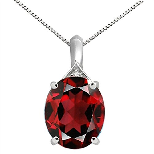 5Ct Oval Shaped Garnet and Diamond Pendant in 10K White Gold -