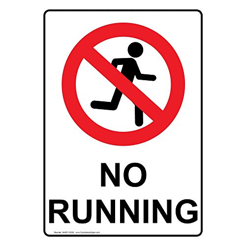 ComplianceSigns Vertical Aluminum No Running Sign, 14 x 10 in. with English Text and Symbol, White by ComplianceSigns