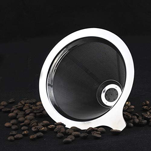 Queenwind ステンレス鋼は、コーンコーヒーを注ぐドリッパーダブルレイヤーメッシュフィルターペーパーレスホームキッチンヘルパー