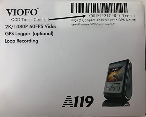 VIOFO Compact A119 V2 (New A119G 2018 Stock) + EVA Foam, 1440p DashCam (V2 GPS Mount Included! Quick Eject) Optional A11CPL (CPL) not included. (OCD Tronic Certified) by VIOFO (Image #2)